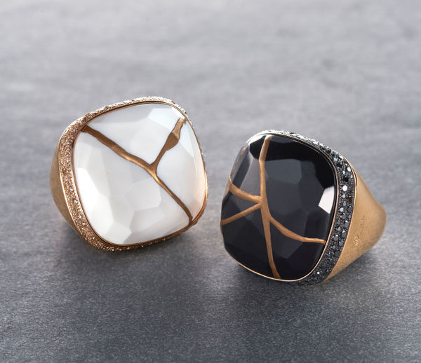 Pomellato Kintsugi Collection_ring in rose gold with jet and black diamonds_ring with kogolon and brown diamonds