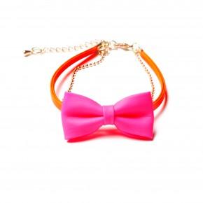 bracelet noeud-orange,rose fluo-14,95