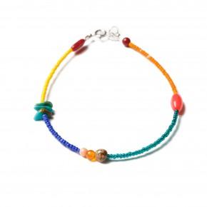bracelet perles-argent-jaune,bleu,orange,vert-14,95e