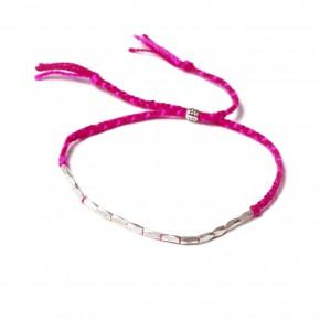 bracelet tresse-perles argent-rose,rouge-25,50e